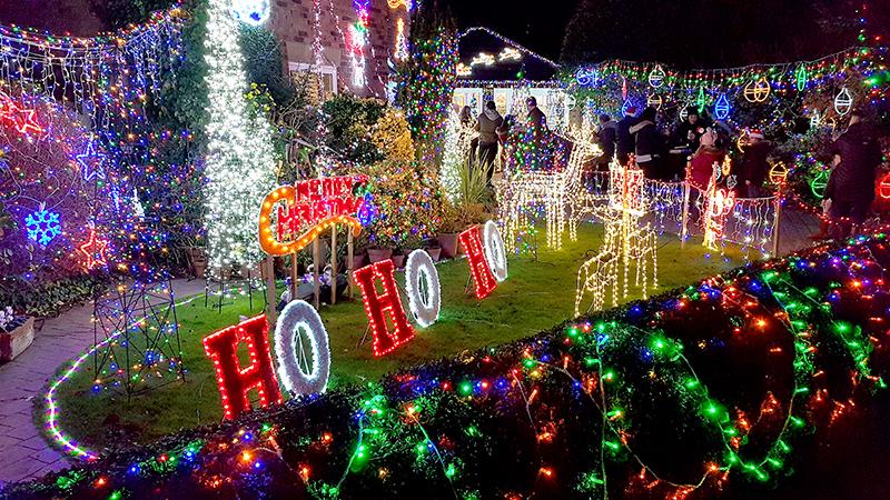 Watch Elm Close charity Christmas lights display.