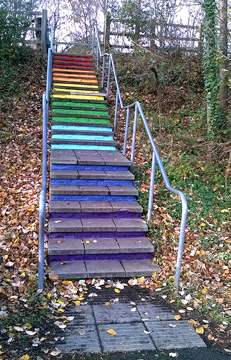 Photo of the rainbow steps at Primrose Bridge.