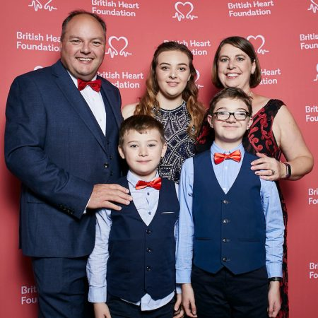 Photo of Calum Morris with his family at the British Heart Foundation's Heart Heroes Awards presentation evening.