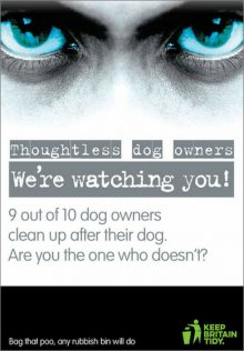 "Keep Britain Tidy glow-in-the-dark poster displaying a pair of eyes and the phrase ""We're watching you!"""