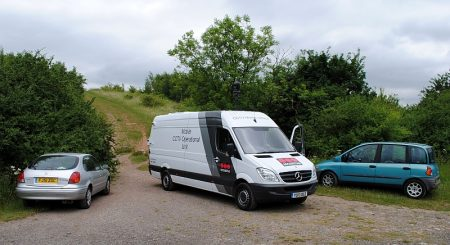 A mobile CCTV operational unit in the Three Brooks Local Nature Reserve.