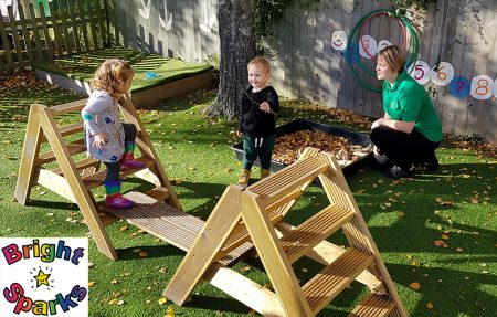 Photo of children playing in the garden during the toddler group session.