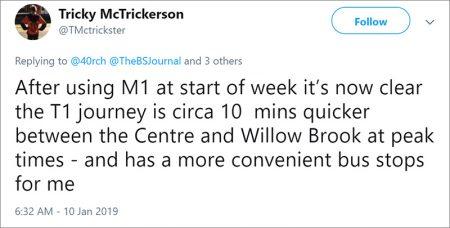 M1 MetroBus tweet by Tricky.