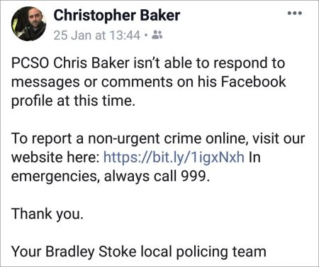 Screen shot of a message placed on the Facebook profile of PCSO Christopher Baker on 25th January 2019.