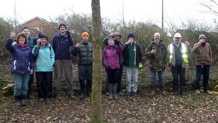 Photo of participants on the Three Brooks Nature Conservation Group hedgelaying weekend.