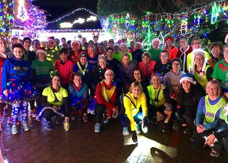 Photo of members of Sole Sisters running club on a visit to see the lights.