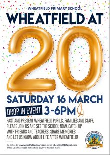 Poster advertising the 'Wheatfield at 20' drop-in event on Saturday 16th March.