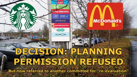 Composite image showing McDonald's and Starbucks logos overlaid on a photo of the Willow Brook Centre site.