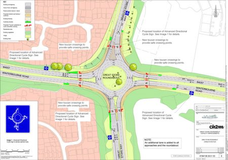 Annotated plan of proposed improvements at Great Stoke Roundabout.