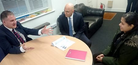 Photo of Khushi talking with Jack Lopresti MP and home secretary Sajid Javid.