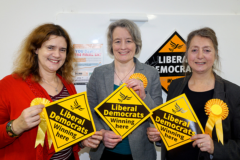 Photo of prospective parliamentary candidates (l-r): Louise Harris, Claire Young and Dine Romero.