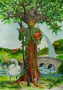 Trolletheus, God of Three Brooks (acrylic), by Susan Hartry.