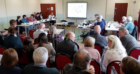 Photo showing council members, officials and members of the public at the DMC meeting on 21st February.