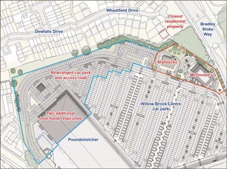 Willow Brook Centre expansion masterplan (annotated extract).