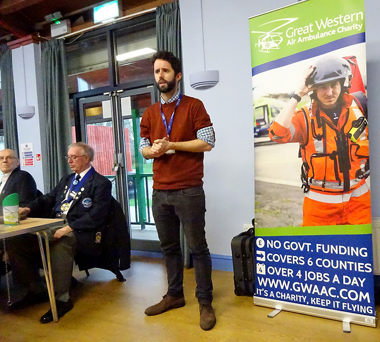 Photo of a representative of Great Western Air Ambulance Charity addressing the meeting.