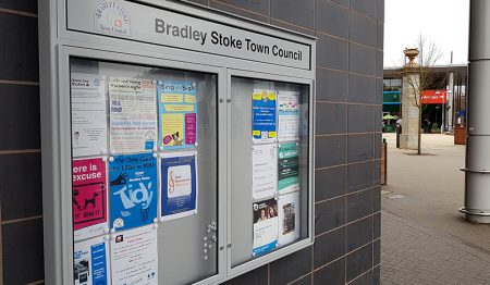Photo of the new town council noticeboard.