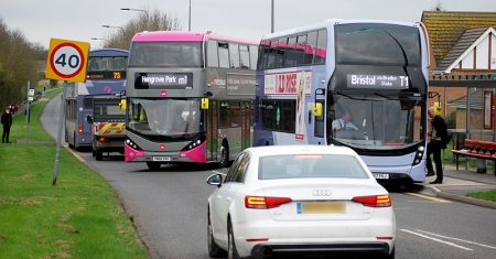 Photo showing bus chaos on Bradley Stoke Way, in the vicinity of Webbs Wood Roundabout.
