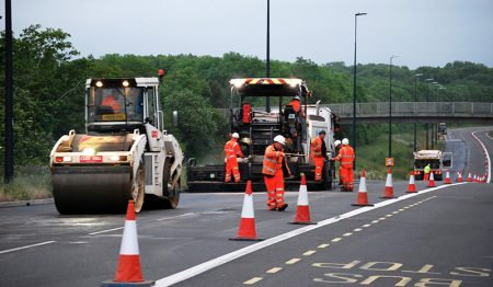 Photo of resurfacing work on Bradley Stoke Way in May 2019.