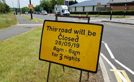 Photo of a road sign warning of overnight closures of Bradley Stoke Way in May 2019.