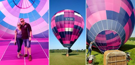 Collage of photographs showing the Purple Rain balloon team.