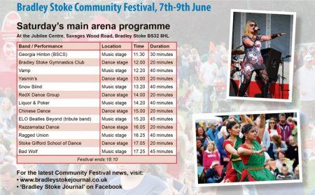 Community Festival 2019 Saturday arena programme.