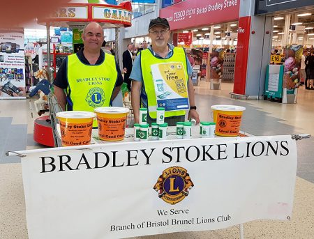 Photo of members of Bradley Stoke Lions Club hosting a stand at the Willow Brook Centre.