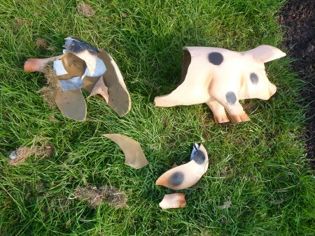 Photo of the smashed 'Peppa the pig' toy.