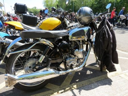 Photo of a parked motorcycle at the 'Get Yer Leg Over' for MS event.