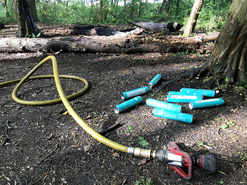 Photo showing the aftermath of a small unauthorised fire in Savages Wood, after it was extinguished by a fire service crew.
