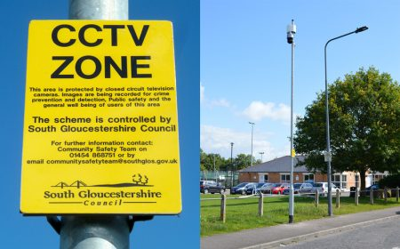 Composite image showing a 'CCTV Zone' sign and a general street view in Savages Wood Road.