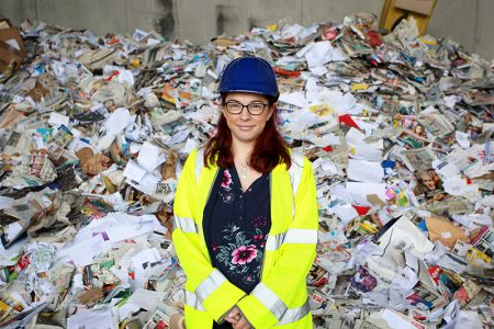 Photo of Cllr Rachael Hunt, Cabinet member for communities, at Yate Sort-It Centre.