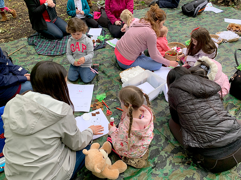 Photo of a teddy bears' picnic for pre-schoolers in Savages Wood.
