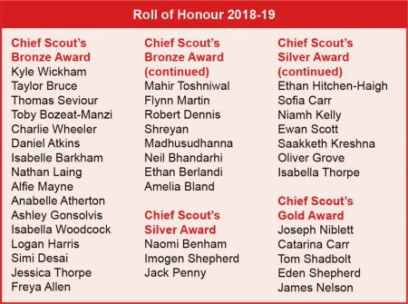 Roll of Honour 2018-19.