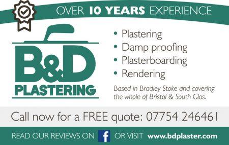 B & D Plastering, Bristol.
