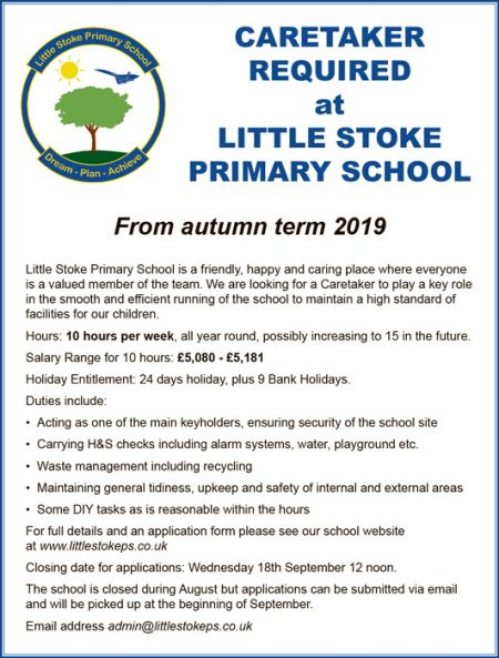 Little Stoke Primary School caretaker vacancy.