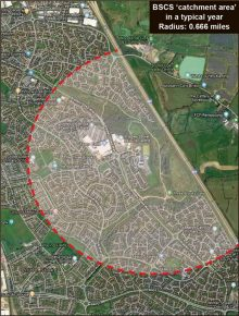 Map showing Bradley Stoke Community School catchment area in a typical year. Radius: 0.666 mile