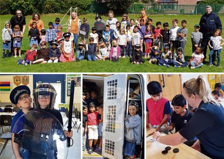 Collage of photos from the police visit.