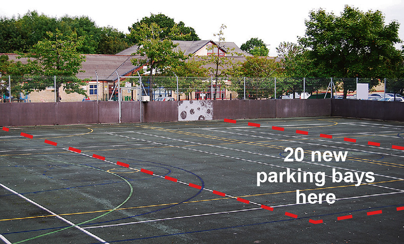 Image showing outline location of new parking bays on the hard court area (indicative only).