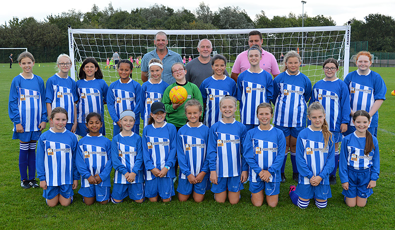 Photo of Bradley Stoke Youth FC U12 Girls with representatives from LNJ Construction.