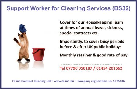 Vacancy for a Support Worker at Felina Contract Cleaning.
