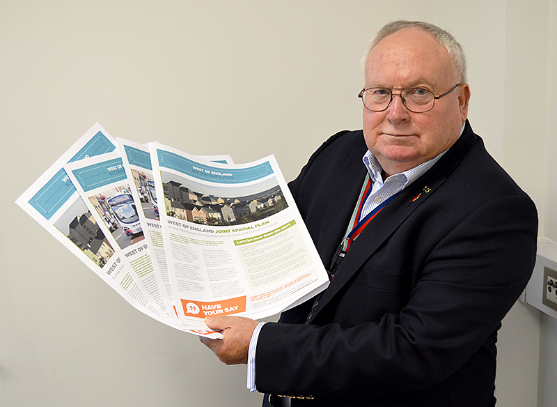 Photo of Cllr Brian Allinson holding JSP consultation documents.