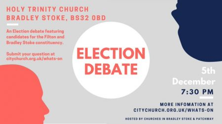 Poster advertising a general election debate featuring candidates for the Filton and Bradley Stoke seat in the 2019 general election.
