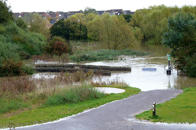 Photo of flooding at the Three Brooks Lake on Friday 11th October 2019.