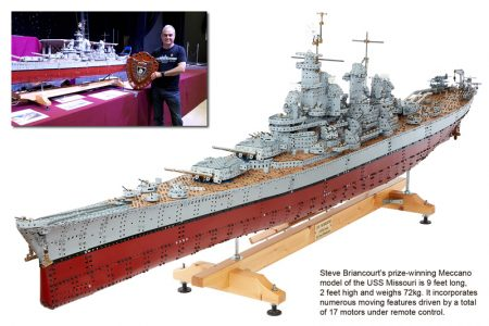 Photo of a Meccano model of the USS Missouri, by Steve Briancourt.