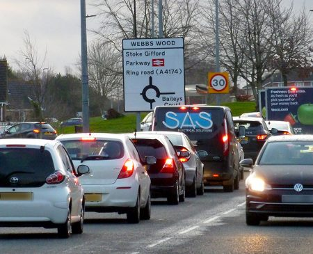 Photo of traffic queues on Bradley Stoke Way, north of Webbs Wood Roundabout.