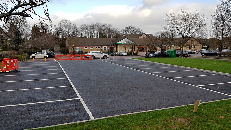 Photo of the new car park extension at Brook Way Activity Centre (looking north).