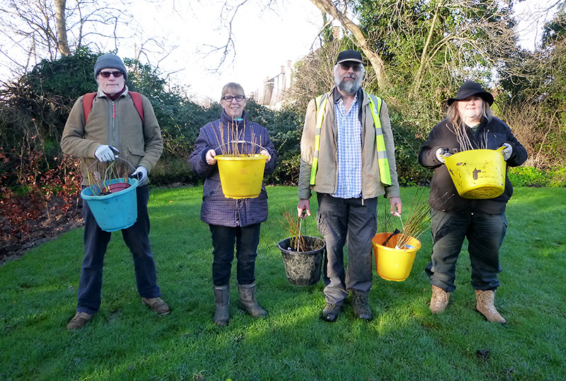 Photo of BSiB volunteers prepare to plant out saplings at Brook Way Activity Centre.
