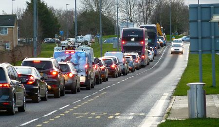 Photo of traffic congestion on the southbound approach to Great Meadow Roundabout.
