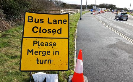 Photo of a 'bus lane closed' sign on Bradley Stoke Way.