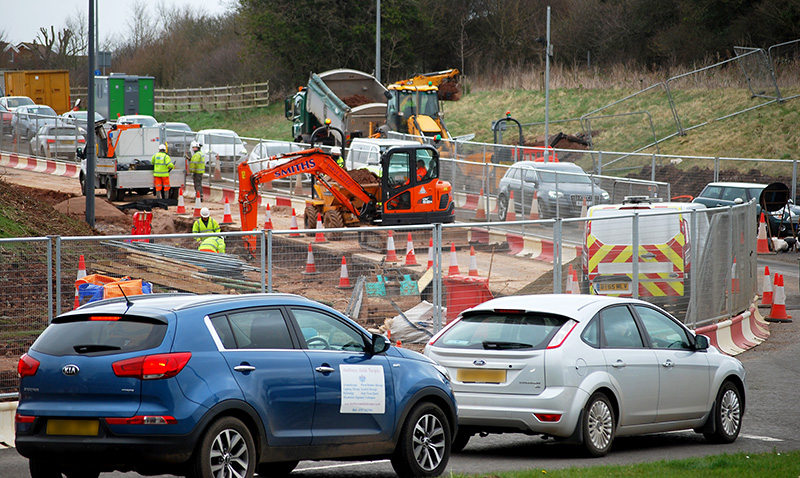 Photo of the roadworks at Great Stoke Roundabout (February 2020).
